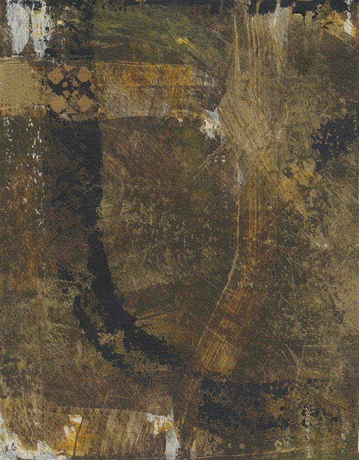 82/100: Untitled Brown Triptych (#1), Nan Genger, 2016