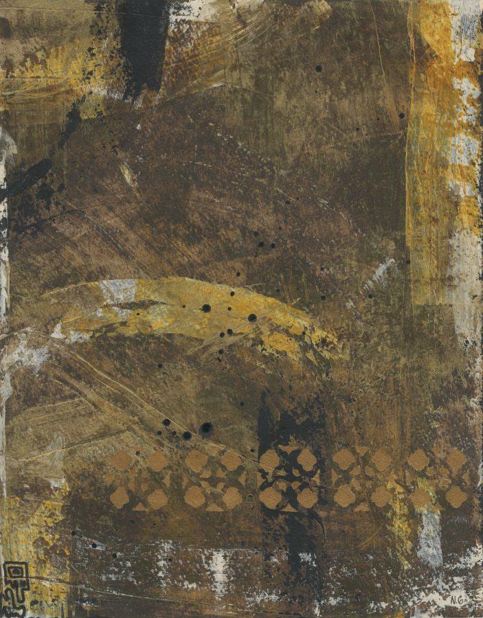 84/100: Untitled Brown Triptych (#3), Nan Genger, 2016