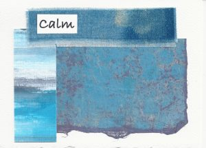 "Calm, Collage, 3.5""x5,"" Mixed media, 2019, Nan Genger"