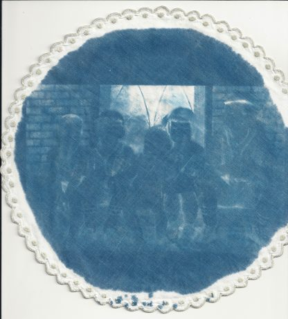 Cyanotype on fabric doily by Nan Genger