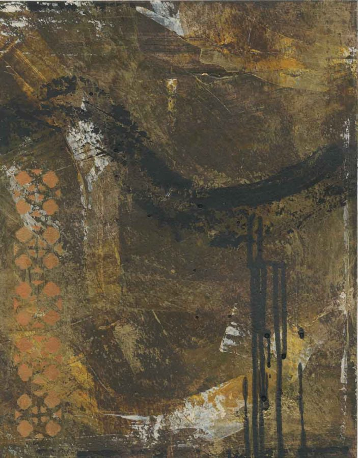 83/100: Untitled Brown Triptych (#2), Nan Genger, 2016
