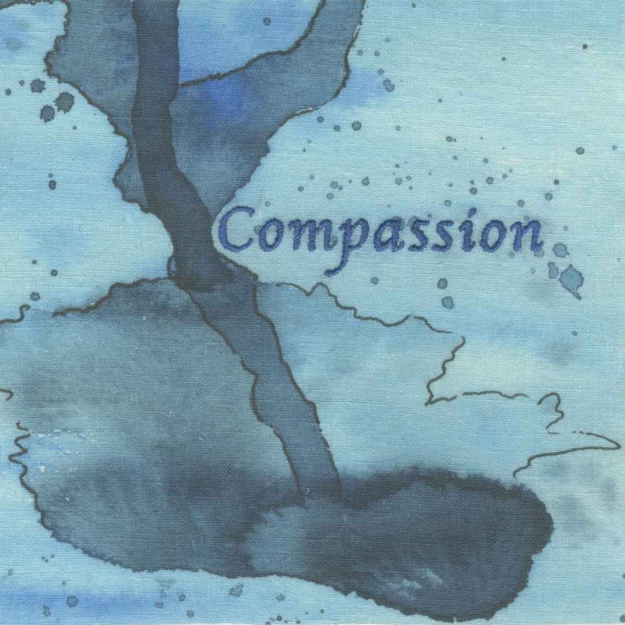 """compassion (embroidery, 6"""" x 6"""" x ¾,"""" Nan Genger, 2016"""