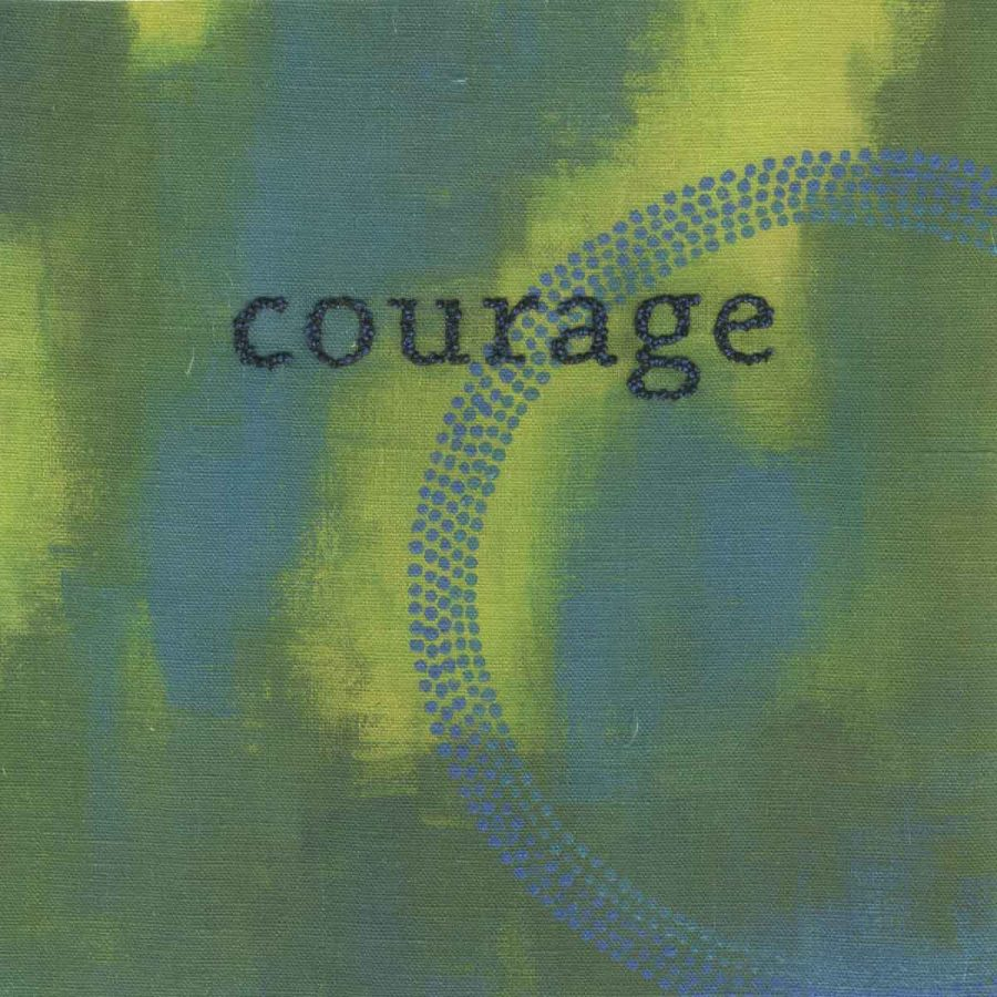"""courage (embroidery), 6"""" x 6"""" x ¾,"""" Nan Genger, 2016"""