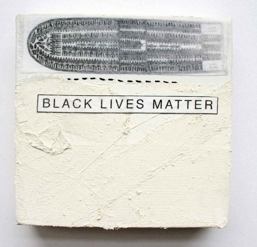 "Middle Passage: Black Lives Matter, 6"" x 6"" x 1.5,"" Nan Genger, 2015"