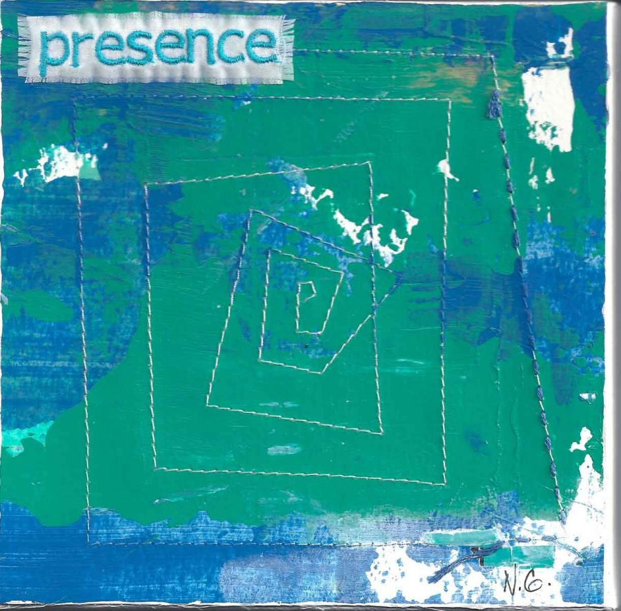 "presence, 6"" x 6"" x ¾,"" Nan Genger, 2016"