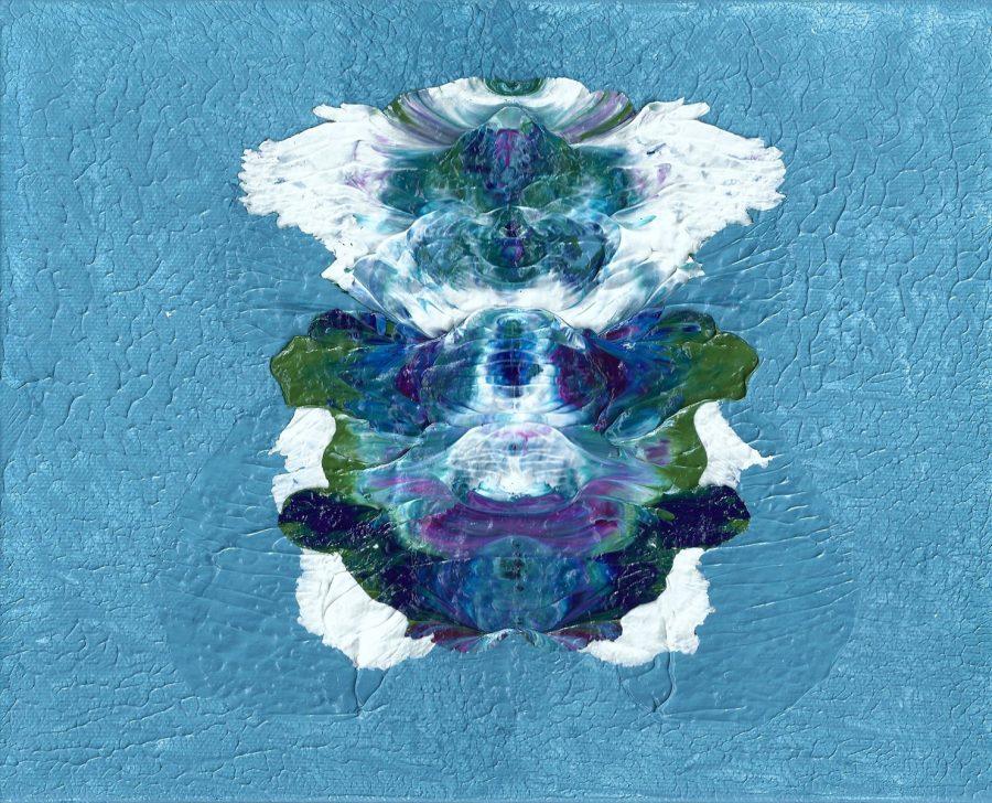 """Transformation Blue#2, Nan Genger 8"""" x 10"""" x ⅞"""" deep"""